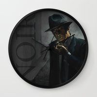 noir Wall Clocks featuring Noir by Abel Fdez