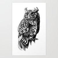bioworkz Art Prints featuring Owl 2.0 by BIOWORKZ