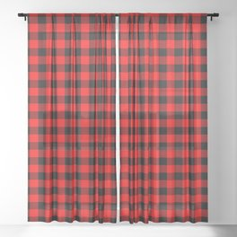 Australian Flag Red and Black Outback Check Buffalo Plaid Sheer Curtain