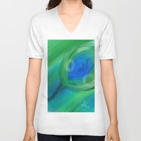 peacock V-neck T-shirts featuring Peacock by ANoelleJay
