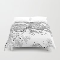 baltimore Duvet Covers featuring Baltimore Map Schwarzplan Only Buildings by City Art Posters