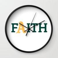 oakland Wall Clocks featuring Oakland A's Faith by Good Sense