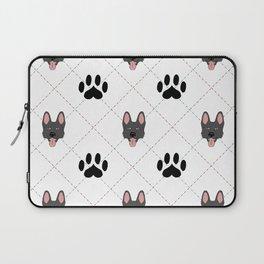Black German Shepherd Paw Print Pattern Laptop Sleeve
