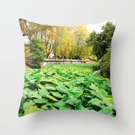 Taro field Throw Pillow