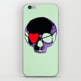 Purple skull with heart eyepatch iPhone Skin