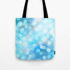 Turquoise Snowstorm - Abstract Watercolor Dots Tote Bag