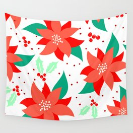 Christmas Holidays Red Poinsettia Patterns Wall Tapestry