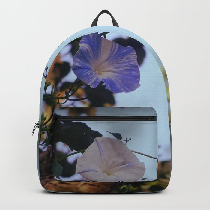 Blue And White Striped Morning Glories Backpack