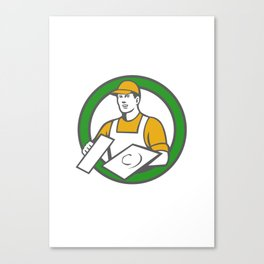 Plasterer Masonry Trowel Circle Retro Canvas Print