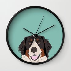 Bernese Mountain Dog pet portrait dog art illustration fur baby dog breed unique gift for dog lover  Wall Clock