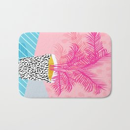 No Can Do - hipster abstract neon 1980s style memphis print palm springs socal los angeles desert Bath Mat
