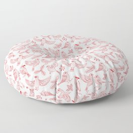 Winter Birds and Foliage Pattern (Red) Floor Pillow