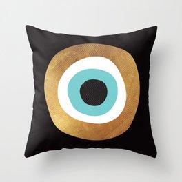 Gold Evil Eye 70s Bohemian Lucky Charm Nazar  Throw Pillow
