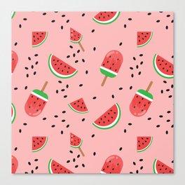 Summer Watermelon Ice Cream Canvas Print
