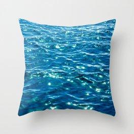 Sparkly Ocean Waves - Vibrant Marine Blue Throw Pillow