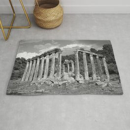 Euromos Ruins Black and White Photography Rug