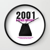 2001 a space odyssey Wall Clocks featuring 2001: A Space Odyssey Movie Poster by FunnyFaceArt