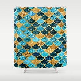 Glitter-Bling Blues, Aquas, & Gold Mermaid Scales Shower Curtain