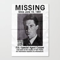 dale cooper Canvas Prints featuring Missing Dale Cooper ... 2016 by Allelujah