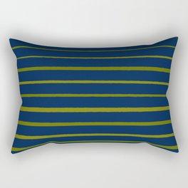Slate Blue and Antique Green Gold Stripes Rectangular Pillow