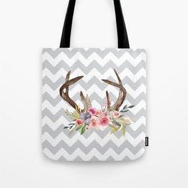 Deer Antlers with flowers Tote Bag