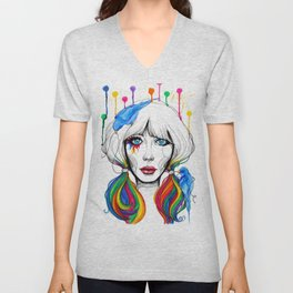 Zooey - Twisted Celebrity Watercolor Unisex V-Neck