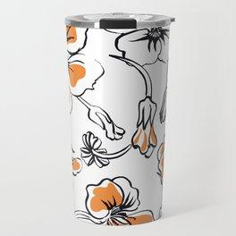 Bold seamless hand drawn floral pattern repeat motif with orange nasturtium flowers, Ink drawing. Travel Mug