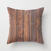 wooden Throw Pillows featuring wooden by Katharina Nachher