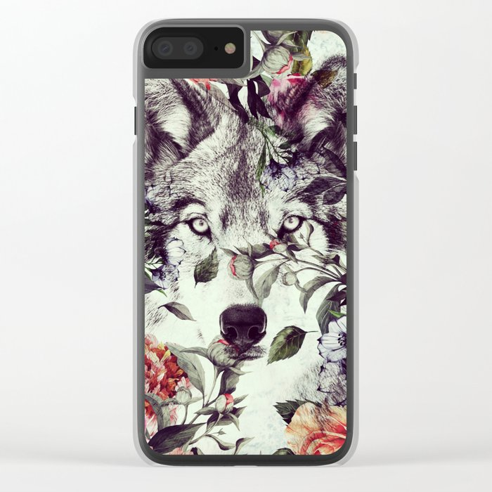 Floral Wolf Clear iPhone Case