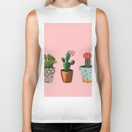 Three Cacti With Flowers On Pink Background Biker Tank