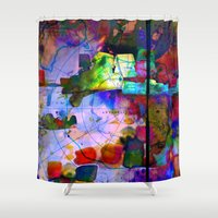 oil Shower Curtains featuring Oil Spill by Martina Erives50