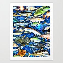 DEEP SALTWATER FISHING COLLAGE Art Print