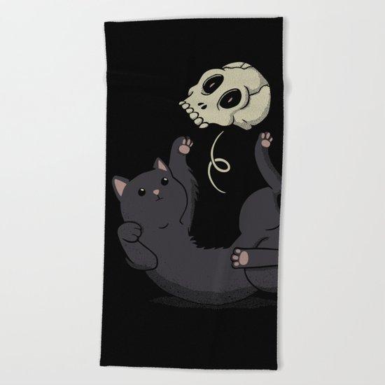 Skull Black Cat Beach Towel