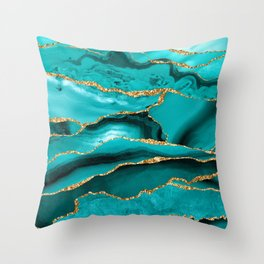 Aqua Turquoise Day Blue Galaxy Marble Throw Pillow