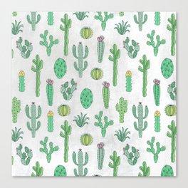 Cactus Pattern White Canvas Print