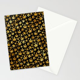 Black Gold Weed Pattern Stationery Cards