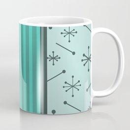Mid Century Stripes & Starbursts (Turquoise) Coffee Mug