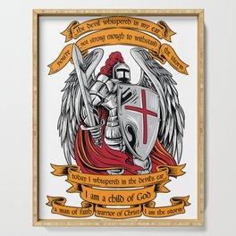 Knight templar I am a child of God shirt Halloween Serving Tray
