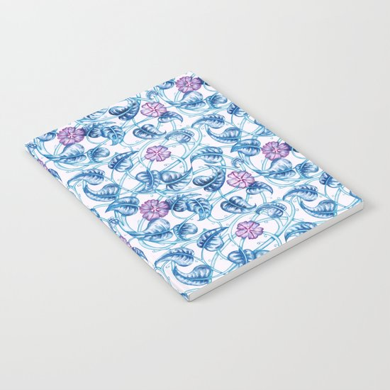 Ipomea Flower_ Morning Glory Floral Pattern Notebook