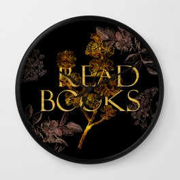Read Books gold typography Wall Clock
