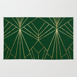 Art Deco in Gold & Green - Large Scale Rug