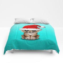Christmas Leopard Wearing a Santa Hat Comforters