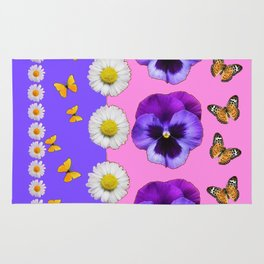 PINK-LILAC & PURPLE PANSY DAISY SPRING FLOWERS Rug