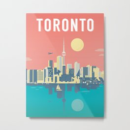 Toronto City Skyline Art Illustration - Cindy Rose Studio Metal Print