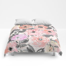 Elegant simple watercolor floral Comforters