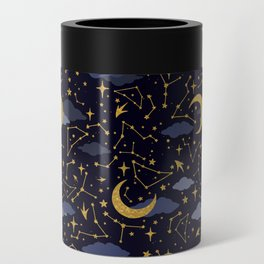 Celestial Stars and Moons in Gold and Dark Blue Can Cooler