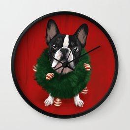 Christmas Bulldog Wall Clock