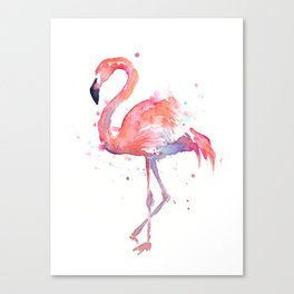 Flamingo Watercolor Canvas Print