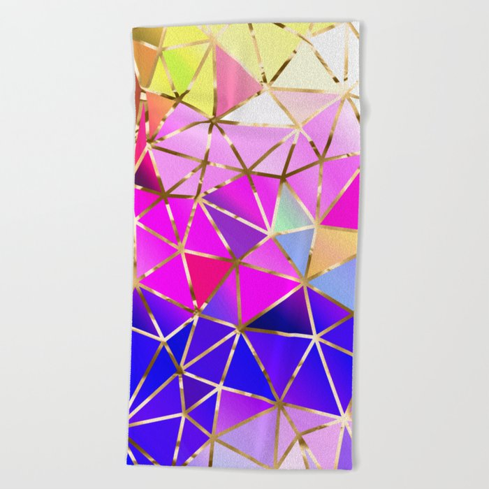 Rainbow Geometric pattern #8 Beach Towel