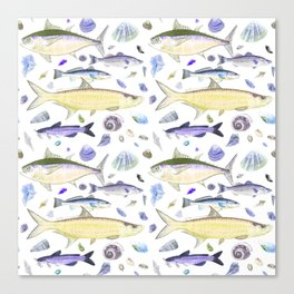 Shell Fish - Yellow Purple Colorway - Casart Sea Life Treasures Collection Canvas Print